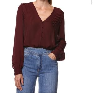 Paige Aurinda Silk Top in Burgundy
